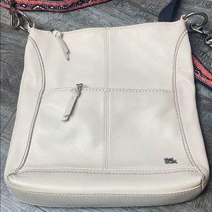 The Sak White Leather Crossbody Bag w/ Cool Strap